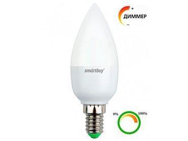Светодиодная лампа (Диммер) Smartbuy 7 Вт C37 E14